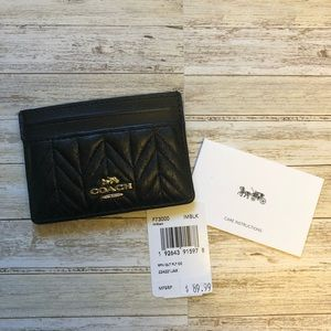 NWT Coach Black Quilted Card Case